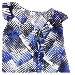 Blue and black pattern blouse
